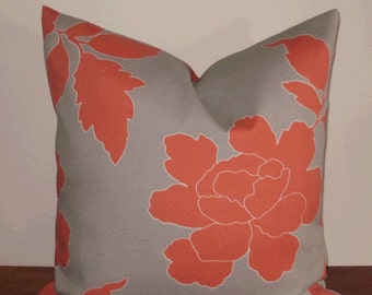 SALE ~ Outdoor Pillow Cover: Dwell Studio Designer Indoor Outdoor 18 X 18 Accent Throw Pillow Cover in Taupe and Coral