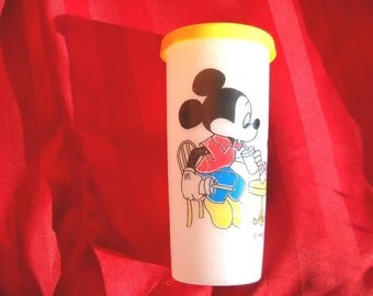 Plastic Mickey and Minnie Cup with Lid