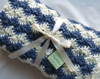 Crochet Baby Blanket- Baby Boy Blanket- Country Blue/Off-white Stripe Stroller/Travel/Car seat blanket- Baby boy shower gift- Photo props