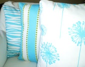 Aqua Pillow Covers, Decorative Throw Pillows, Cushion Covers, Aqua Girly Blue White Stripe Pillow Couch Bed, Combo Set of Three 18 x 18