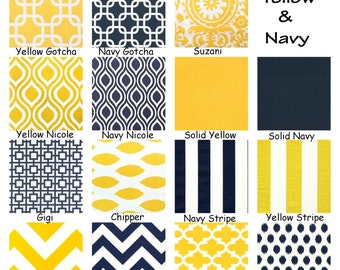 Navy Blue Yellow Pillow Covers, Decorative Throw Pillow, Cushions, Premier Navy Blue Corn Yellow White, One or more ALL SIZES Mix & Match