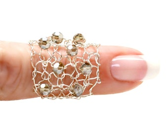 Big Silver Ring Smoke Grey Crystal Delicate Wire Knit Jewelry Sparkling Crystals Wide Band Lace Mesh Ring Lapisbeach