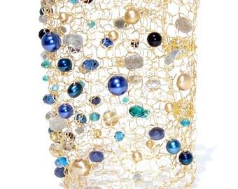 Statement Jewelry Labradorite Bracelet Iolite Bracelet Statement Bracelet Gold Cuff Bracelet Gemstone Bracelet Arm Cuff Modern Chic Jewelry