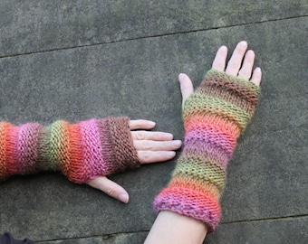 Fingerless gloves, long armwarmers, colourful gloves, gift ideas, knitwear UK