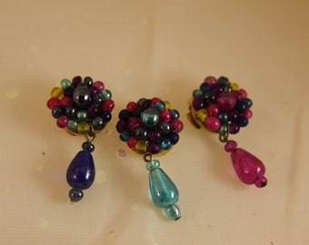 3 Beaded Vintage Button Covers Gold Metal Iridescent Glass beads and Drops