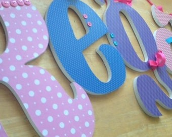 Wooden Letters, Girls Nursery Decor, PINK, BLUE and PURPLE, Baby Girl Name Letter, Wood Wall Letters, any size or font in this shop