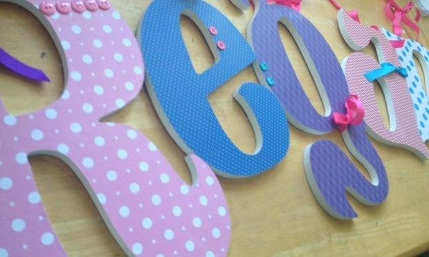 Holzbuchstaben m dchen kinderzimmer dekor pink von for Holzbuchstaben madchen