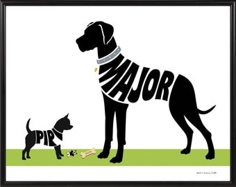 Personalized Great Dane with Chihuahua Print, Natural Ears or Cropped Ears, Framed Silhouette Dog Decor