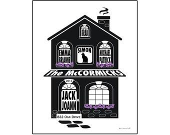 Personalized Family Home Slihouette Print - Unframed 11x14 House Print - Family Name Art