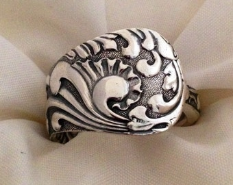 Spoon Ring, OPAL 1890, Art Deco, Silverware Jewelry, Vintage Silverplate, Size 5 to 12 Choose Your Size