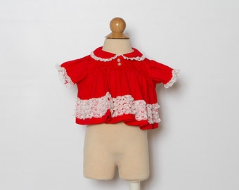 vintage 1970s baby girl's red blouse with white lace