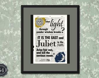 William Shakespeare Quote ROMEO AND JULIET Quote Vintage Dictionary Art Print Upcycled Book Art Shakespeare Home Decor Shakespeare Wall Art