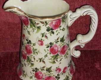 Vintage Pink Rose Porcelain Pitcher-With Gold Trim