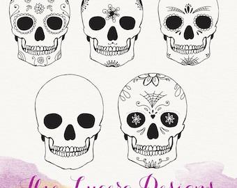 SALE .PNG Halloween sugar skull doodle clip art, overlays, digital embellishments