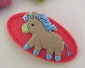 Felt hair clip -No slip -Wool felt -Donkey -coral red