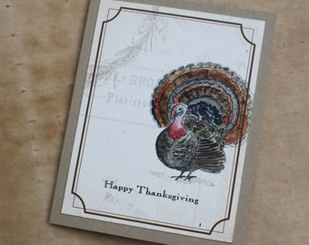 Thanksgiving Turkey in Fall Color, Collage with Wheat, Handmade Greeting Card Blank