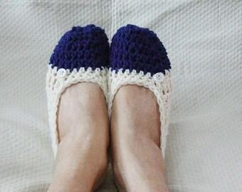 Crochet Slippers Womens FlatsNavy and Cream