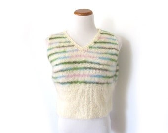 vintage sweater vest 70s ivory green blue striped ombre cropped womens 1970s clothing size small s medium m