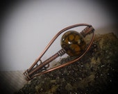 Agate Antique Copper Wire Wrapped Bracelet Cuff size 7
