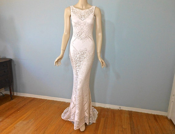 Cream Lace Backless Bohemian Wedding Dress Simple Wedding: Peach LACE Wedding DRESS BoHo Wedding Dress SIMPLE Wedding