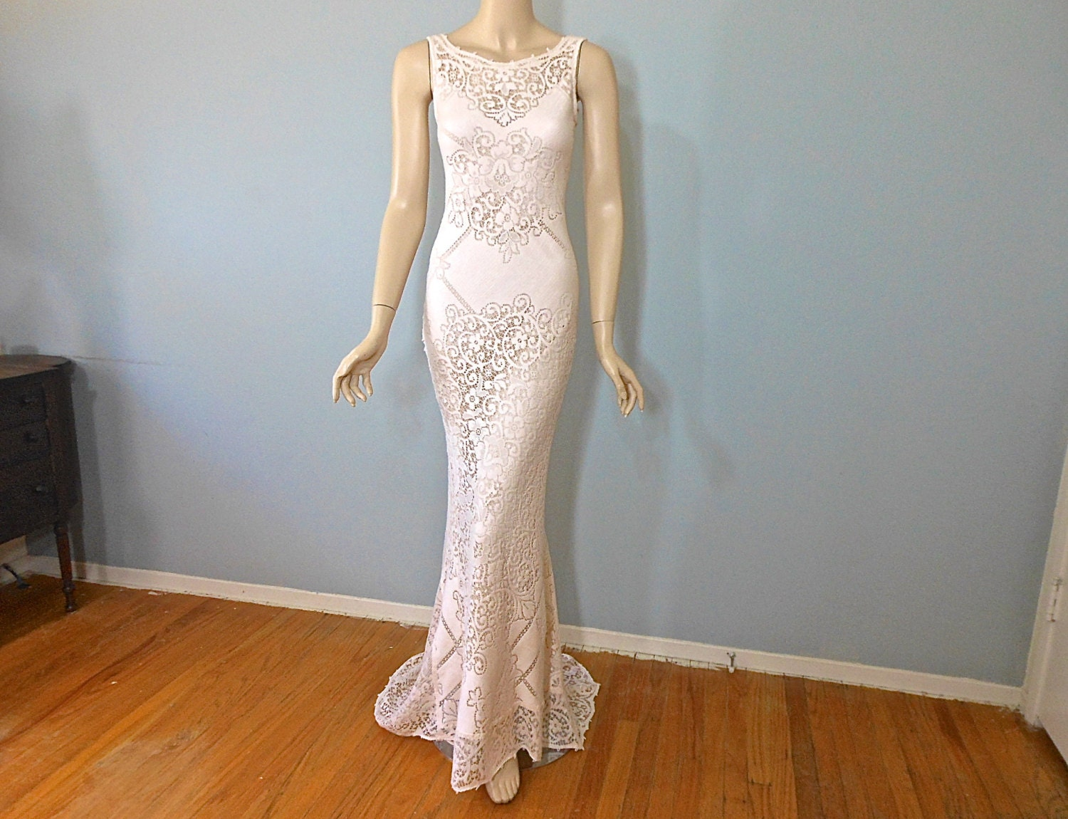 Boho Lace Wedding Dress Etsy : Peach lace wedding dress boho by museyclothing
