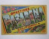 vintage linen postcard - PASADENA California, big letter, Curt Teich souvenir postcard - circa 1940s to 1950s - pc249