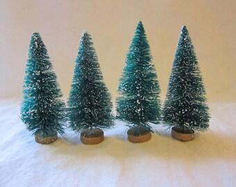 4 miniature bottle brush trees - 3.25 inches - green, flocked, sisal - ms3