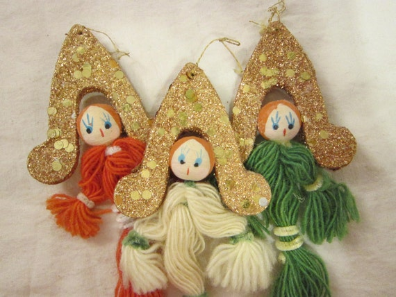 3 vintage spun cotton angel ornaments - holiday, yarn, glitter