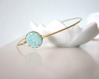 Tiny druzy bangle bracelet, aqua sparkle, delicate modern jewelry