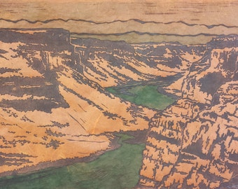 Canyon by Height of Day - Original Linocut Print