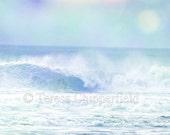 Ocean Waves, Beach Photo, Seascape, Fine Art Photography, 8 x 12,16 x 24,Sea Green, Blue Sky, Golden Sand, Surf, Sunny Vacation Day, Seaside