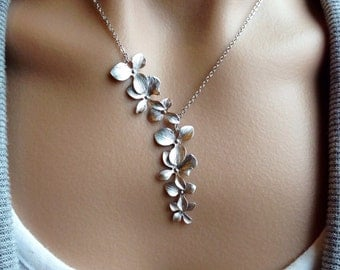 Silver Orchid Cascade Necklace - gift, wedding, Mother's Day, bridesmaid, sister, daughter, romantic, botanical, bridal, anniversary