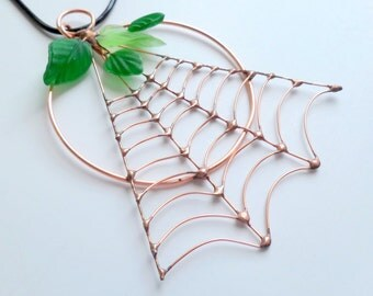 Unique One of a Kind Copper Wire Spider Web Pendant Gift for Bug Lover Unique Birthday Gift Window Hanging Sun Catcher Wall Hanging