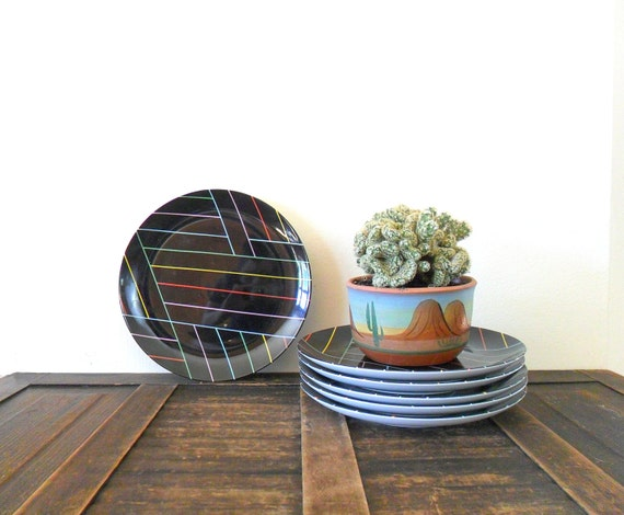 RESERVED for roxane vintage fitz and floyd neon striped porcelain plates