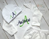 Personalized Mongrammed Newborn Baby Boys Homecoming Lime Green and Navy Blue Layette Gown Set