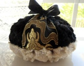 Black and Gold Powder Puff - satin brocade with faux chinchilla fur - big pouf - gift boxed
