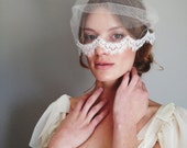 Silk tulle bandeau veil with Chantilly lace trim #1011