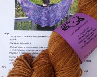 Masquerade Shawl Kit featuring Purple Fleece Yarn