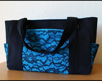Turquoise Blue Lace Tote Style Diaper Bag or Large Purse with blue Canvas lining