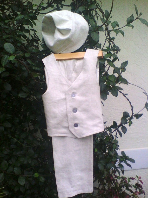 Ring Bearer Outfit with Pants, Vest and Newsboy Cap for Toddler Boys, Custom