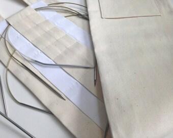 Hanging Organizer Circular Needle Storage Case Natural Cotton
