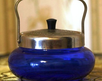 Former Soviet - Covered Sugar Bowl - Cobalt Blue Glass with Silver Tone Metal Lid and Handle from Russia / Soviet Union / USSR