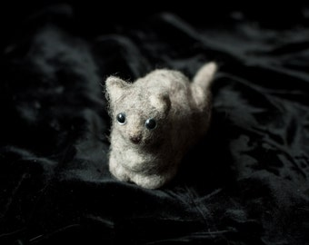 Needle felted CAT - grey and white