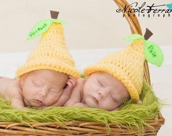 Perfect Pair Newborn Photo Prop Crochet Twin Hats