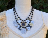Maggie - Funky Vintage Statement Necklace with Antique Charms SALE was 125.00