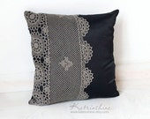 Black and grey Pillow Cover With Crocheted Doily Applique OOAK decorative accent pillow