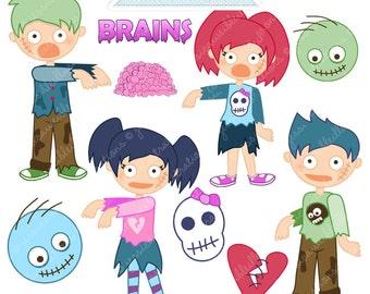 Zombie Kids Cute Digital Clipart - Commercial Use OK - Zombie Graphics, Zombie Clipart, Digital Art, Halloween Clipart