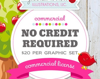 Commercial Use License No Credit Required per Graphic SET