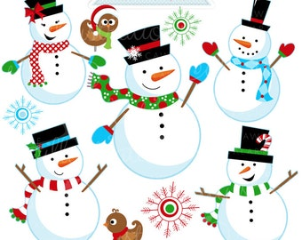 Snow Fun Snowmen Cute Digital Clipart - Commercial Use OK - Christmas Clipart, Snowman, Snow Clipart, Snowman Graphics