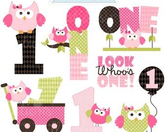 First Birthday Girl Owls Cute Digital Clipart - Commercial Use OK - Owl First Birthday Clipart - First Owl Birthday Graphics
